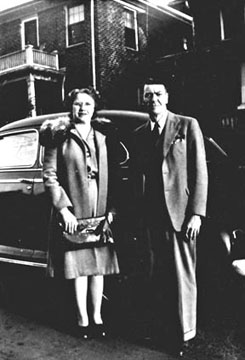 Robert Luther & Minnie Odessa Beckham Clontz in front of their apartment at 1537 South Tryon Street, Charlotte, N.C. in 1941
